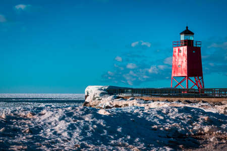 Light house frozen over in Charlevoix Michigan