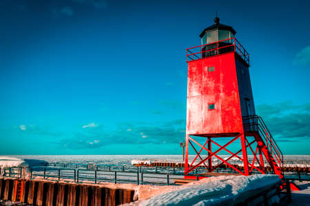 South Pier Lighthouse in Charlevoix Michigan during winter