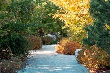 Autumn path through the Frederik Meijer Gardens in Grand Rapids Michigan