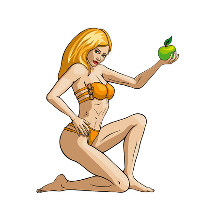 Young woman in bikini with a green apple Vector