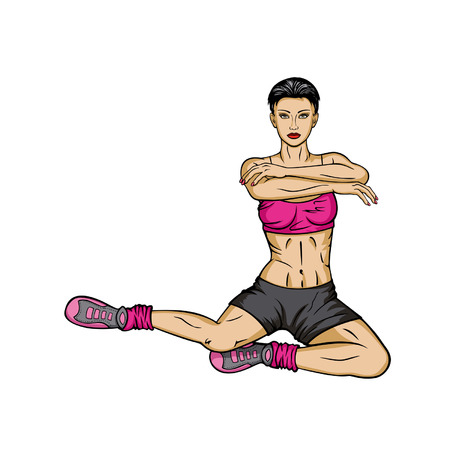 activewear: Woman doing exercises for hips Illustration
