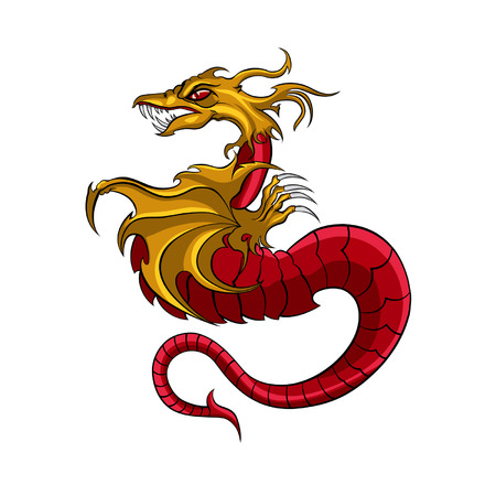 Illustration symbolic red dragon with wing  vector graphic  Çizim