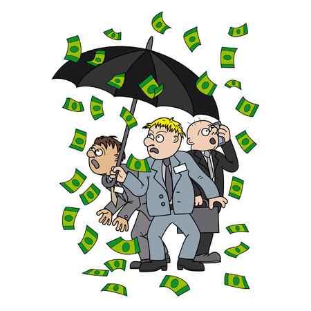 fiasco: Illustration frightened businessmen standing with an umbrella under the money rain