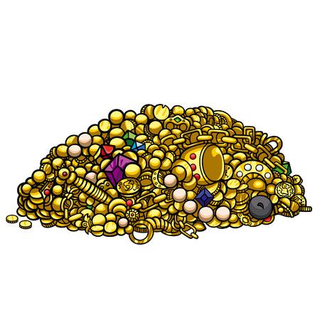 Illustratie stapel schat goud, parels, edelstenen, munten