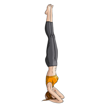 brown haired girl: Illustration woman practicing yoga exercise called headstand pose  salamba shirshasana