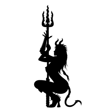 Devil woman dancing striptease near the  pitchfork dressed in demoness costume