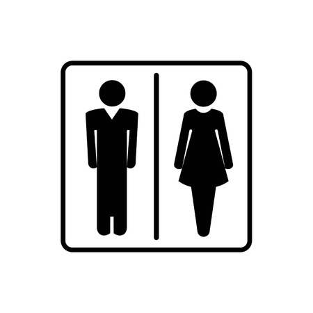 Man and woman signs for toilet, restroom, washroom, lavatory isolated on white background Vector