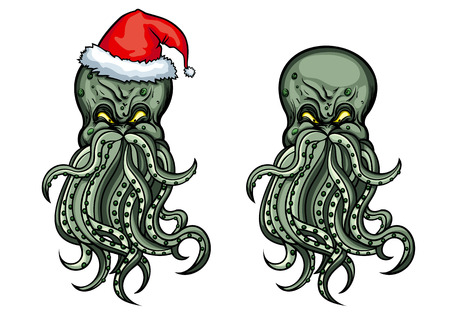 Illustration mystical monster-octopus, wearing Santa s hat  He folds his tentacles like the beard and moustache  Alternative version - Cthulhu without a hat Stock Illustration - 24366494