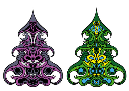 vitrage: Illustration decorative Christmas tree in two alternative colour version for design   Stock Photo