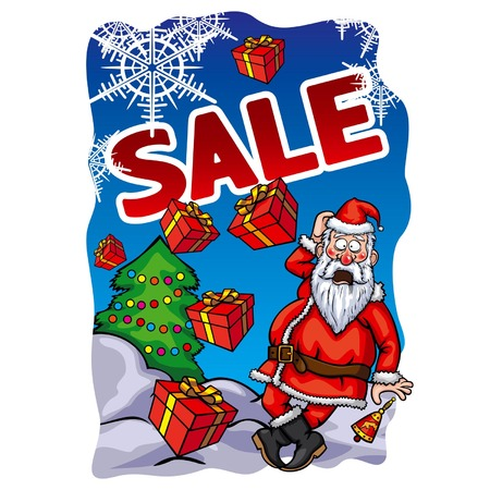 Christmas Sale banner with surprised Santa Claus and falling gifts Frame with snowflakes  Handmade text is my own design  Vector