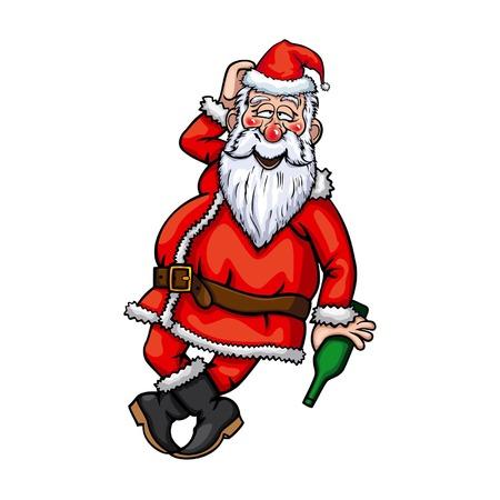 벡터에서 사용할 수있는 병 그림 취한 산타 클로스 EPS 형식 일러스트