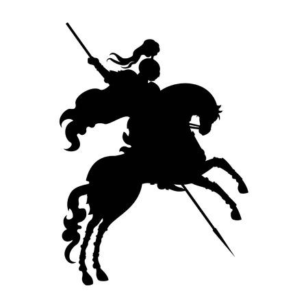 Silhouet van zegevierend ridder met lans op een paard, opstaan op zijn achterpoten