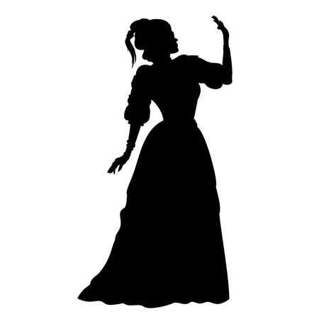 fancy dress: Illustration silhouette of a woman in a ball gown