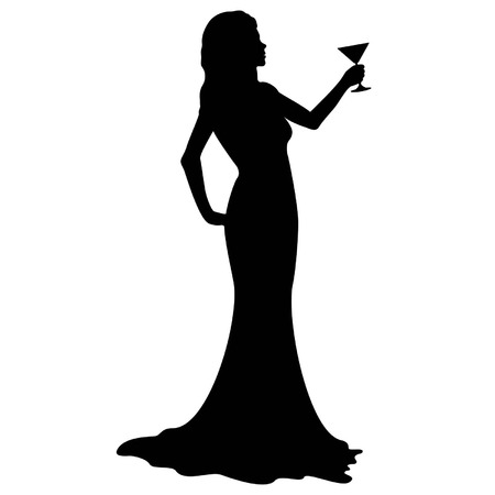 Illustration silhouette of a woman in an evening dress, holding cocktail glass