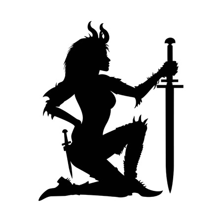 Stylized woman warrior with sword, semi-naked, in fantasy spiked armor Vector
