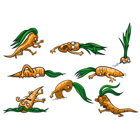 runaway: Ilustraci�n de dibujos animados asustado fugitivo, la escalada y la mentira zanahorias, gr�fico