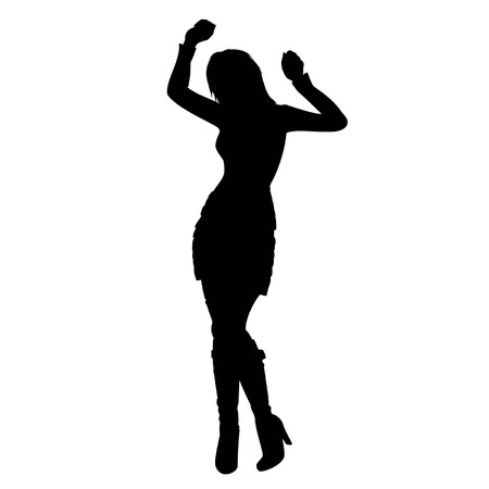 Abstract illustration of woman silhouette  She is dancing