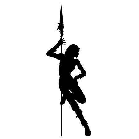 Warrior meisje dansen striptease in de buurt van de speer