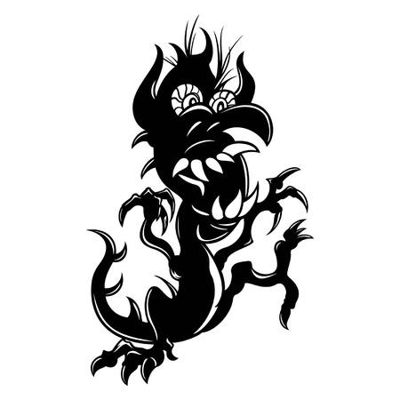 black в white: Illustration symbolic cartoon dragon, black   white  Illustration