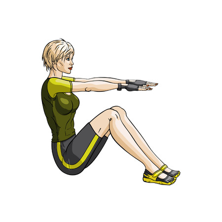 activewear: Illustration woman doing exercises for press   Illustration