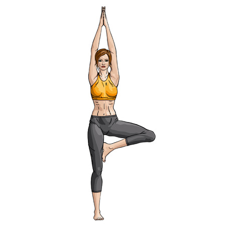 brown haired girl: Illustration woman working yoga exercise tree-pose