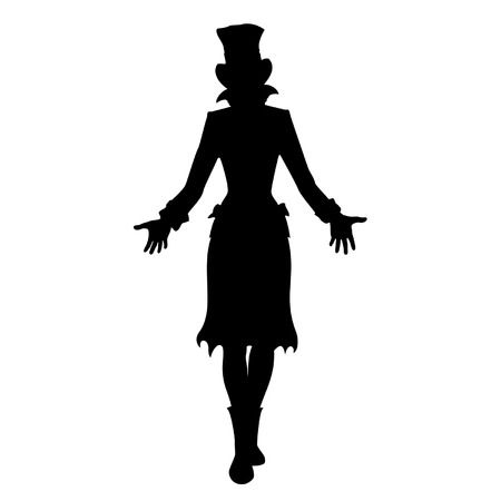 Silhouette of girl in tall hat  She is stretching hands forward Vector