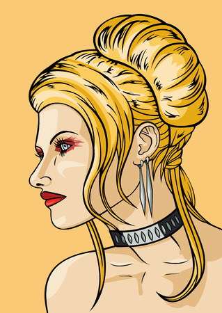 bijou: Girl_with_hairdress_in_the_babetta_style_vector_graphic