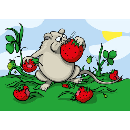 comix: Cartoon greedy mouse eating a strawberry