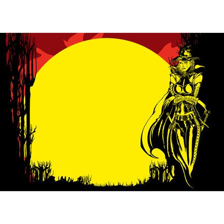 Flyer do Dia das Bruxas com bruxa na floresta ao luar, vetor gráfico de fundo com espaço da cópia