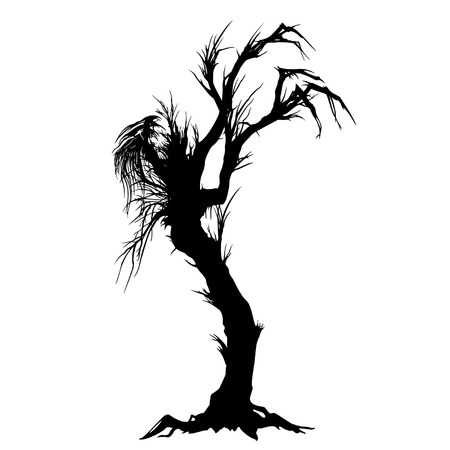 Silhouette of a lone sinister tree-like monster Illustration