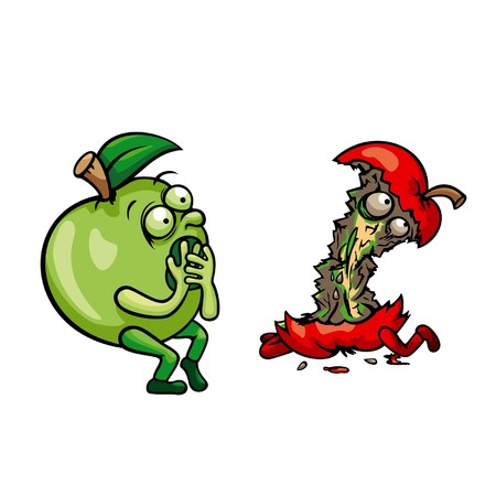 apple core: Alive green apple frightened at the sight of the dead red apple core, vector graphic