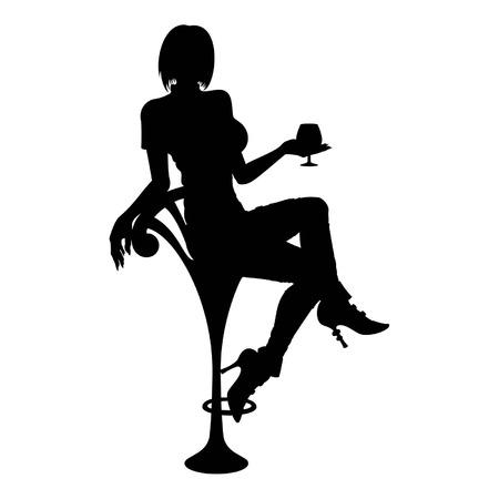Silhouette Frau mit Cocktail-Glas ist sie auf einem Barhocker sitzend Erhältlich in Vektor-EPS-Format Standard-Bild - 29265647
