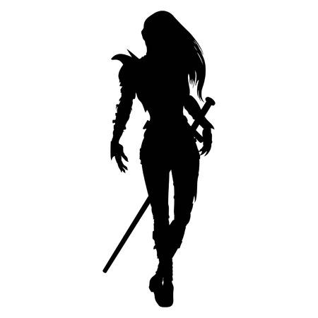 Silhueta estilizada de andar mulher guerreira com espada, em armadura de fantasia Disponível em formato EPS de vetor