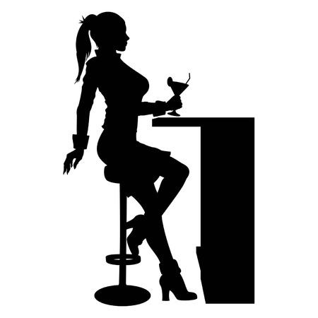 Silhueta de uma mulher sentada no bar, com um copo de coquetel em sua mão.