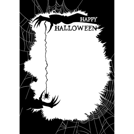 Halloween background with copy space  Sinister silhouettes of hands, spider and spider web   Vector