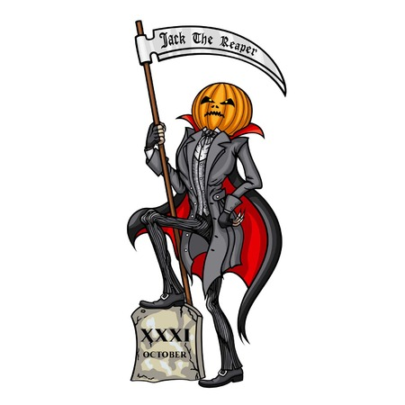 reaping: Halloween Pumpkin Head Jack The Reaper with the scythe
