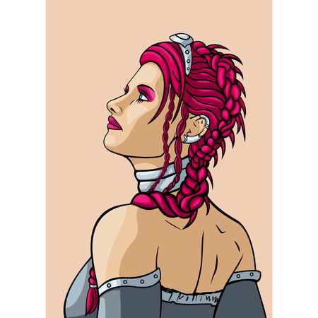 comix: Girl with ? hairdress in the french style