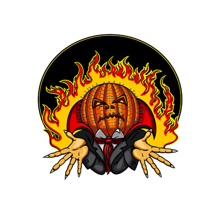 hellfire: Halloween Emblem of Pumpkin Head Jack with nails in the head with hellfire on the background