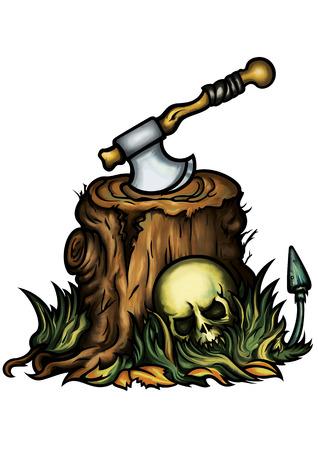 Illustration halloween emblem with a stump, an axe, a skull, autumn leaves, grass, and a mushroom illustration