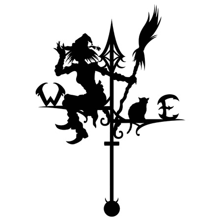 Illustration a silhouette of a wind vane. A Witch and a cat are sitting on it.  Available in vector EPS format.