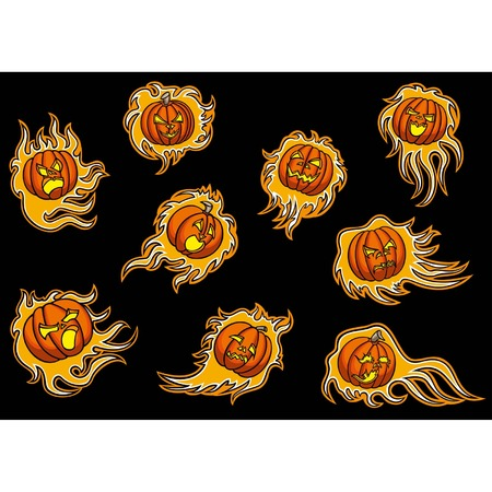infernal: Set with emblems of infernal pumpkins,9 screaming fire pumpkins emblems for design, vector graphic