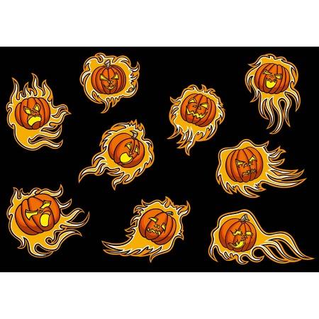 Set with emblems of infernal pumpkins,9 screaming fire pumpkins emblems for design, vector graphic
