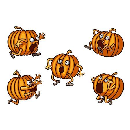 runaway: Halloween conjunto fugitivo calabaza Vectores