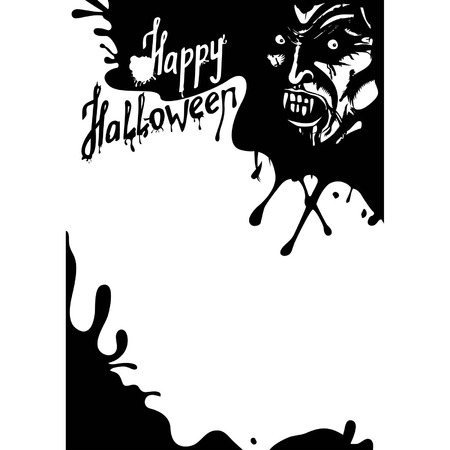 own blood: Halloween Vampire greeting card. or party flyer with copy space.  Face of vampire with fangs, with black blood and spots. Handmade text is my own design. Available in vector EPS format. Illustration