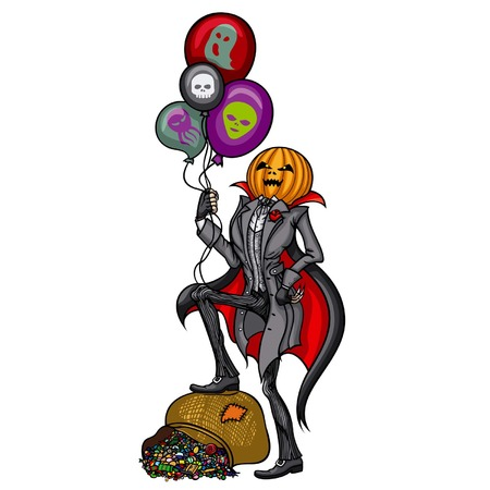 Illustration Pumpkin Head Jack with Halloween air balloons, standing on a bag of candy, vector graphic