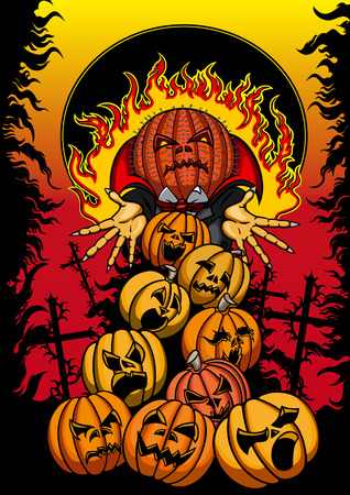 infernal: Halloween poster with screaming hell pumpkins and infernal Jack Pumpkin Head in the black fire frame Stock Photo
