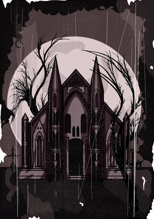 Haunted Mansion postcard  with moon and trees silhouettes on the background, in retro style with scratches and noise. photo