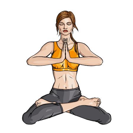 namaste: Lotus Yoga girl doing exercise in padmasana with namaste hands