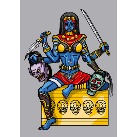 Fantasy woman Kali Indian Goddess in exotic clothes with four hands, holding weapon and demons heads Vector