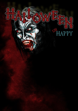 Halloween background with a Vampire in the red mist